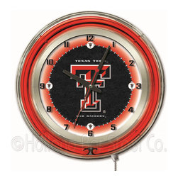 Holland Bar Stool - Holland Bar Stool Clk19TXTech Texas Tech 19 Inch Neon Clock - Clk19TXTech Texas Tech 19 Inch Neon Clock belongs to College Collection by Holland Bar Stool Our neon-accented Logo Clocks are the perfect way to show your school pride. Chrome casing and a team specific neon ring accent a custom printed clock face, lit up by an brilliant white, inner neon ring. Neon ring is easily turned on and off with a pull chain on the bottom of the clock, saving you the hassle of plugging it in and unplugging it. Accurate quartz movement is powered by a single, AA battery (not included). Whether purchasing as a gift for a recent grad, sports superfan, or for yourself, you can take satisfaction knowing you're buying a clock that is proudly made by the Holland Bar Stool Company, Holland, MI. Clock (1)