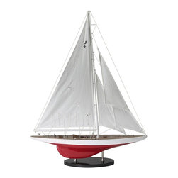 "Authentic Models - Authentic Ranger Model Wood Sailboat - Hand-built in the classic plank-on-frame method, this sailboat will surely add a touch of elegance to your home decor. This sailboat is an authentic model of a typical Yacht ship used it 1937. This, is a beautiful contemporary model to display in your home or office. Dimensions: 27""W x 35""H x 6""D."