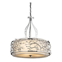 Kichler - Kichler Jardine 3-Light Chrome Drum Shade Pendant - This 3-Light Drum Shade Pendant is part of the Jardine Collection and has a Chrome Finish.