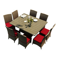 Forever Patio - Hampton 9 Piece Modern Wicker Dining Set, Heather Wicker and Ruby Cushions - The Forever Patio Hampton 9 Piece Patio Wicker Square Dining Set with Red Sunbrella cushions (SKU FP-HAM-9SQDN-HT-FF) allows you to enjoy outdoor dining with plenty of company and style. The set seats 8 adults comfortably, and includes 8 dining chairs and a dining table with a glass top. This set features Heather resin wicker, which is made from High-Density Polyethylene (HDPE) for outdoor use. Each strand of this outdoor wicker is infused with its natural color and UV-inhibitors that prevent cracking, chipping and fading ordinarily caused by sunlight, surpassing the quality of natural rattan. This resin wicker dining set is supported by thick-gauged, powder-coated aluminum frames that make it extremely durable. Also included are fade- and mildew-resistant Sunbrella cushions. Create an elegant outdoor dining area with this personalized and wonderfully modern-looking patio dining set.