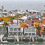 Corona Del Mar Panorama by Ben and Raisa Gertsberg canvas art, art print, giclee - Corona Del Mar is Spanish for Crown of the Sea. It is a picturesque town in the city of Newport Beach, California. This village is known for its cliff side views, fine sandy beaches, tide pools and charming boutique shops. The older area of Corona del Mar is known for its eclectic houses of varying architecture, many with expansive ocean views.