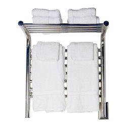 Amba - Shelved Straight 20x22 Electric Heated Towel Warmer, Polished - Towel Warmer / Towel Dryer