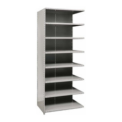Hallowell - 87 in. High 8-Tier Hi-Tech Medium-Duty Closed Shelving - Adder (36 in. W x 12 in - Depth: 36 in. W x 12 in. D x 87 in. H. Expand your storage space simply and easily with this add-on utility shelf, a medium-duty unit that's perfect for garage, workshop or basement use. Crafted of cold-rolled steel in gray finish, the eight-tier unit has a closed back and side and is designed to connect to an existing shelf. Includes 1 beaded front post, 2 angle back posts, 1 back panel and 1 side panel. Great addition to Hi-Tech medium-duty closed shelving starter unit. 8 Adjustable shelves. Fabricated from cold rolled steel. Welds are spaced 3 in. on center to provide maximum strength. Sides are triple flanged to form a channel. All 4 corners are lapped and resistance welded to provide a rigid corner and add extra strength to the shelf. Tubular front edge is designed to protect against impact loads. 36 in. W x 12 in. D x 87 in. H. 36 in. W x 18 in. D x 87 in. H. 36 in. W x 24 in. D x 87 in. H. Assembly required. 1-Year warranty