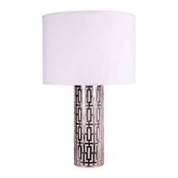"Jamie Young - Jamie Young Cypress Silver Table Lamp - The Jamie Young Cypress table lamp illuminates a room with a mod design. Made from silver, this cylinder light fixture features a geometric frame for visual interest. Lamp: 5.25""D x 14""H. Shade: 15""W x 10""H. Total height: 24.5"". Optional white linen drum shade. Accepts one 150W type A bulb (not included)."
