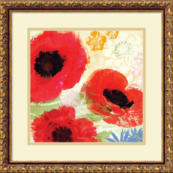 Amanti Art - Meringue 'Poppies Painterly II' Framed Art Print 18 x 18-inch - Enjoy the beauty of painterly poppies and give your walls a contemporary flair with this striking work by Meringue.