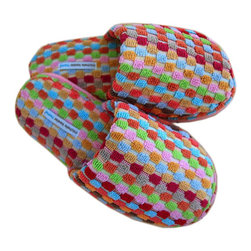 Terrycloth Rainbow Weave Slippers - Comfortably slink in and out of your bathroom with these fun Rainbow Weave Slippers. Made from plush terrycloth, they are sure to keep your feet cozy and warm.