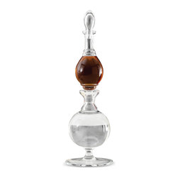 Kathy Kuo Home - Elevator Global Bazaar Glass Double Decanter - A bit of an optical illusion, the bottom of the small decanter acts as the stopper for the larger decanter in this exotic twist on barware. Crafted of clear glass from Portugal, this shapely sculpture serves as a decoration and a double decanter.