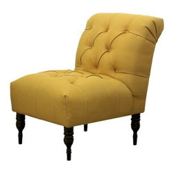 Vaughn Tufted Slipper Chair, French Yellow - I love this shade of gold! And I'm especially liking the tufted buttons, pretty decorative legs and feminine detailing.
