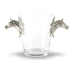 Vagabond House - Horse Handled Glass Ice Bucket - Pewter handles on this beautiful glass ice bucket pays homage to the noble racing steed. Perfect for pre and post-race soirees, it is also a beautiful vessel in which to present a bouquet of roses to any winner in your life!