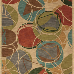 Karastan - Karastan Artois 74800-14102 Lille Croissant Rug - This bright rug will really bubble and pop on your floor, adding color and modern design to any room in the house. The circular pattern will round out the room, while the easy-to-match colors will add interest and a modern flavor to your floor.