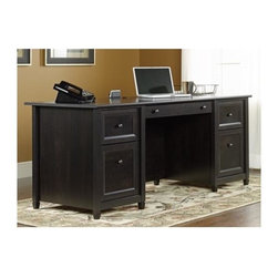 Sauder - Edge Water Executive Desk in Estate Black Fin - Features flip-down panel for keyboard and mouse. Large drawer and shelf with metal runners and safety stops. 2 File drawers with full extension slides hold letter-size hanging files. 2 Small drawers with metal runners and safety stops. Desk top has grommet hole for electrical cord access. Patented T-lock drawer system. Made of engineered wood. Assembly required. 65 in. W x 30 in. D x 29 in. H