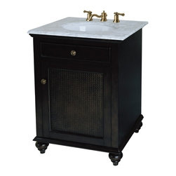 Pegasus - Bimini 24 in. Bathroom Vanity in Espresso Fin - Manufacturer SKU: F10AE0021A. Vanity top, faucet and sink not included. British cane inserts in door. Slow close door system. Antique brass door knobs. Tilt-out drawer for extra storage. Bun feet. ADA compliant. Made from solid wood. 24 in. W x 21 in. D x 33 in. H (55 lbs.)