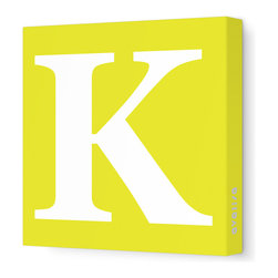 "Avalisa - Letter - Upper Case 'K' Stretched Wall Art, 12"" x 12"", Yellow - Spell it out loud. These uppercase letters on stretched canvas would look wonderful in a nursery touting your little one's name, but don't stop there; they could work most anywhere in the home you'd like to add some playful text to the walls. Mix and match colors for a truly fun feel or stick to one color for a more uniform look."
