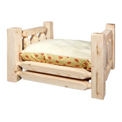 Montana Woodworks - Pet Bed With Mattress - Montana woodworks incredibly popular pet bed allows your pet to snuggle into a luxurious, fleece lined mattress for a comfortable healthy rest. The artisans use the mortise and tenon joinery system to ensure this item will withstand years of use.