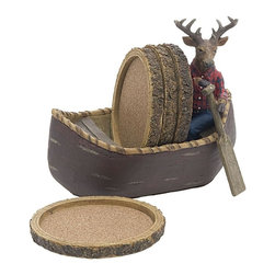 Thirsty Stone - 5 Pc Deer-In-Canoe Resin Beverage Coasters Set - Set includes 1 pc. hand painted holder & 4 pcs. cork coasters. Made of Resin. No assembly required. 6 in. Dia. x 4 in. H (3 lbs.)