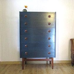 Refinished Furniture - Navy and teak mid-century modern dresser.