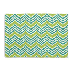 Teal Wavy Chevron Custom Placemat Set - Is your table looking sad and lonely? Give it a boost with at set of Simple Placemats. Customizable in hundreds of fabrics, you're sure to find the perfect set for daily dining or that fancy shindig. We love it in this modern undulating chevron in teal & lime green. it's ready to make waves in your outdoor decor.