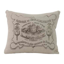 Zentique - Stamp Pillow - This piece is a 20x20 natural linen pillow with a French stamp print.