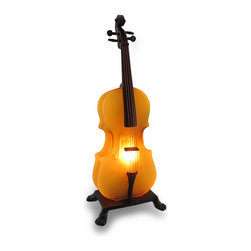Zeckos - Amber Glass Cello Sculptural Accent Lamp Night Light - Highlight your appreciation for music and musical instruments with this cello shaped lamp that is sophisticated as an accent piece! This 18.5 inch high, 7 inch long, 5 inch wide (47 X 18 X 13 cm) lamp beautifully sets the room aglow in a lovely light cast from the frosted amber glass shade, perfect while enjoying your favorite composition, reading, writing or just to softly light the night. Crafted from frosted glass with a cast resin fingerboard, this cello mounts on a cast iron base for display on a tabletop, counter or mantel in your home or on your desk or bookshelf at the office. This lamp uses 1 Type T 25 Watt maximum bulb (included) that easily turns of or off via the thumb switch on the 67 inch long black cord. This cello lamp is amazing as a gift for musicians or music lovers sure to bring a standing ovation!