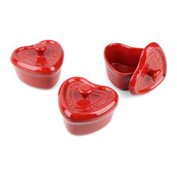"""Staub Ceramic Mini Heart Cocottes, Set of 3 - Use these heart-shaped individual cocottes from the solid European brand Staub, and then it probably doesn't matter a whole lot what you place inside. They boast serious """"cute"""" factor."""