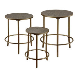 "Coaster - ""Coaster Nesting Table, Bronze"" - ""Simple set of three nesting tables with an elegant bronze finish. Each table top features a decorative hammered metal top and sturdy tube legs.Dimensions (W x L x H): 22.00"""" x 22.00"""" x 27.00""""Finish/Color: BronzeAssembly Required: YesMade in China"""