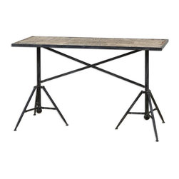 Uttermost - Uttermost Plaisance Console Table X-72342 - Industrial style fittings on a black iron table, framing a vintage Paris street map on the weathered wood, inset top.
