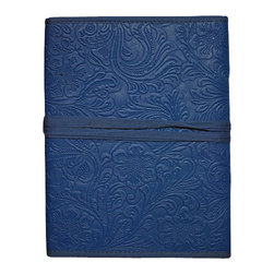 "Sitara Collections - Embossed Cruety-Free Blue Leather Journal with Handmade Paper (6"" X 8"") - Your Ideas Will Come to Life in this Gorgeous Homage to Traditiomal Craftsmanship. Quality is in Every Detail of our Journal, Which Features Handmade Paper Bound in a Sturdy Leather Cover. an Extraordinary Statement for Both Persomal and Professiomal use, You'Ll Never Settle for Ho-Hum Notebooks again. Journal Measures 6 inches X 8 inches Handmade Paper Handmade by Talented indian artisans Imported."