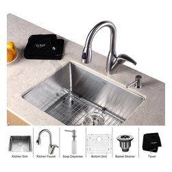 Kraus - Kraus 23 inch Undermount Single Bowl Stainless Steel Kitchen Sink with Kitchen F - *Add an elegant touch to your kitchen with unique Kraus kitchen combo