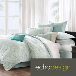 Echo - Echo Mykonos 300 Thread Count Cotton 3-piece Comforter Set - This Mykonos bed set by Echo brings a calm feeling to the bedroom. The oversized comforter is made from 100-percent cotton with a mosaic tile design. The top of bed is complete with a tackless finish on the edge for a clean look.