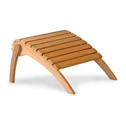 Thos. Baker - Teak Adirondack Footstool | Bainbridge Collection - OK, time for a little bragging. The bainbridge adirondack is the finest adirondack chair on the market today. Period. There, we said it.Why? Compare it to any other adirondack out there in terms of quality, design and scale. The weight alone tells the tale: at 59 lbs it is easily 50% more chair than virtually all the competition.This is a spare, contemporary execution of this classic Down East design with no skimping on materials or workmanship. Purchase the matching footstool here.