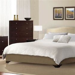 Lifestyle Solutions - Magnolia 4 Pc Bedroom Set (Queen) - Choose Bed: QueenIncludes bed, dresser, mirror and nightstand. Chest not included. Upholstered with lush cream colored fabric. Fully upholstered headboard, footboard and side rails. Headboard padded with premium cushions. Brushed pewter finish nail trim on headboard. Beveled mirror. Two hooks. Pre-drilled holes. Can be hung vertically and horizontally. Dresser has six drawers. Nightstand has two drawers and one shelf. English dovetail joints. Solid wood drawers. Hand-sanded and stained interiors drawers. Reinforced corner wood blocks. Center-mounted metal glides. Felt-lined top drawers. Stained, recessed and screwed on back panels. Bottom dust panels. Metal knobs. Made from wood. Rich cappuccino finish. Queen: 87.01 in. L x 65.16 in. W x 49.21 in. H. Eastern King: 87.01 in. L x 81.30 in. W x 49.21 in. H. California King: 87.01 in. L x 76.97 in. W x 49.21 in. H. Dresser: 60.94 in. W x 19.37 in. D x 31.02 in. H. Mirror: 40.47 in. W x 30.51 in. H. Nightstand: 21.97 in. W x 17.36 in. D x 26.06 in. H. Warranty. Bed Assembly Instructions. Dresser Assembly Instructions. Mirror Assembly Instructions