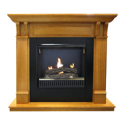 Paramount - Oak Gel Fuel Fireplace Mantel & Insert - This beautiful gel fireplace offers a classic design with the added convenience of a gel insert requiring no venting. Holding 3 canisters of clean burning gel fuel, it will provide up to 9,000 BTUs and the sight and sound of real flame, making it a luxurious addition to your home. Paramount EcoLogo gel fuel sold separately.