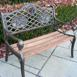 Oakland Living - 27 in. Mini Angel Garden Bench - Lightweight. Metal hardware. Fade, chip and crack resistant. Warranty: One year limited. Made from durable cast iron and wood. Antique bronze hardened powder coat finish. Minimal assembly required. 27 in. L x 15 in. W x 22 in. H (30 lbs.)The Oakland Collection has wide range of practical designs giving you rich addition to any outdoor setting. The functional designs make every piece in this collection ideal for any back yard, patio or garden setting. This bench will be beautiful addition to your patio, balcony or outdoor entertainment area. Our benches are perfect for any small space or to accent larger space. We recommend that products be covered to protect them when not in use. To preserve the beauty and finish of the metal products, we recommend applying epoxy clear coat once year. However, because of the nature of iron it will eventually rust when exposed to the elements.