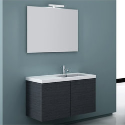 Iotti - 39 Inch Bathroom Vanity Set - Wide open spaces and a thoroughly modern look give this Italian vanity set first place on your list for bathroom d�cor. Select from Glossy White, Wenge and Gray Oak for your finish. Get waterproof, environmentally conscious materials for ultra low emissions from harmful pollutants in your home. There's loads of shelf space next to the basin on the fitted white ceramic sink and storage space underneath the sink top. The five layer mirror design is made to resist scratching and corrosion, and also comes with a vanity light. Set Includes: . Vanity Cabinet (2 doors). Fitted ceramic sink (39.4 inch x 2 inch x 18 inch ). Mirror (38.3 inch ). Vanity Light. Vanity Set Features:. Vanity cabinet made of engineered wood. Cabinet features waterproof panels. Available in Gray Oak (as shown), Glossy White, Wenge. Cabinet features 2 doors. Faucet not included. Perfect for modern bathrooms. Made and designed in Italy. Includes manufacturer 5 year warranty.