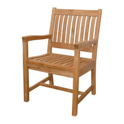 Anderson Teak - Rialto Slat Back Dining Armchair - Unfinished - Enjoy outdoor dining from the comfort of solid teak armchairs.  Classic slat design on seats and backs is always popular and will complement other deck or patio furnishings.  Pair with matching side chairs and featured tables in a range of sizes and styles. * Curved slat back design. With arms. Teak wood construction. Traditional style. Minimal assembly required. 21 in. W x 17 in. D x 35 in. H (21 lbs.)This simple traditional style dining armchair will never go out of style, but quietly blends with any other design. The seat is very sturdy and comfortable because of the curve that designed to be perfect for your back. Place this chair in your backyard with the dining table, will amazed your family or friends.