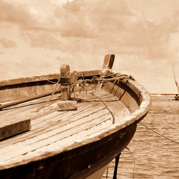 Murals Your Way - Fishing Boat Wall Art - This wall mural was created from a sepia-toned photograph of the prow of an old fishing boat, the mooring rope unraveling with age