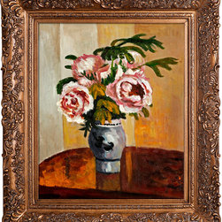 """overstockArt.com - Pissarro - Bouquet of Pink Peonies Oil Painting - 20"""" x 24"""" Oil Painting On Canvas Hand painted oil reproduction of a beautiful Pissarro painting Bouquet of Pink Peonies. Originally painted in 1873. Today it has been carefully recreated detail-by-detail, color-by-color to near perfection. Jacob-Abraham-Camille Pissarro (1830-1903) was a French Impressionist painter who's focus on landscapes, as well as, rural and urban French life have always been a favorite of the viewing audience. His later work displays an empathy for peasants and laborers sometimes revealing his radical political leanings. Why not grace your home with this reproduced masterpiece? It is sure to bring many admirers!"""