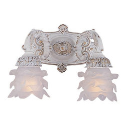 Crystorama - Antique White Wrought Iron Double Wall Sconce with Frosted Tulip Shades - Antique White Wrought Iron Double Wall Sconce with Frosted Tulip Shades