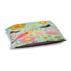 """DiaNoche Designs - Dog Pet Bed Fleece - Flower Meadow - DiaNoche Designs works with artists from around the world to bring unique, designer products to decorate all aspects of your home.  Our artistic Pet Beds will be the talk of every guest to visit your home!  BARK! BARK! BARK!  MEOW...  Meow...  Reallly means, """"Hey everybody!  Look at my cool bed!  Our Pet Beds are topped with a snuggly fuzzy coral fleece and a durable indoor our underside material.  Machine Wash upon arrival for maximum softness.  Made in USA."""