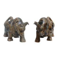 Golden Lotus - Pair Chinese Oriental Jade Stone Carved Rhinoceros Figures - This is a pair of Rhinoceros figures carved from jade stone with its natural yellowish green color as a simple accent.