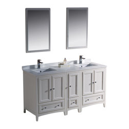 "Fresca - Oxford 60"" White Double Sink Vanity w/ Side Fiora Chrome Faucet - Blending clean lines with classic wood, the Fresca Oxford Traditional Bathroom Vanity is a must-have for modern and traditional bathrooms alike.  The vanity frame itself features solid wood in a stunning antique white finish that?s sure to stand out in any bathroom and match all interiors.   Available in many different finishes and configurations."