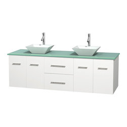 Wyndham Collection - Centra Bathroom Vanity in White,GN Glass Top,Pyra White Sinks,No Mir - Simplicity and elegance combine in the perfect lines of the Centra vanity by the Wyndham Collection. If cutting-edge contemporary design is your style then the Centra vanity is for you - modern, chic and built to last a lifetime. Available with green glass, pure white man-made stone, ivory marble or white carrera marble counters, with stunning vessel or undermount sink(s) and matching mirror(s). Featuring soft close door hinges, drawer glides, and meticulously finished with brushed chrome hardware. The attention to detail on this beautiful vanity is second to none.