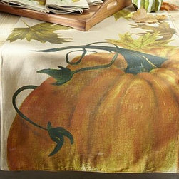 """Painted Pumpkin Table Runner, 16 x 108"""" - A theme of finely detailed pumpkins and fall leaves is faithfully reproduced from an original painting by our in-house artist. 18 x 108"""" Woven of a linen/cotton blend. Backed with cotton. Machine wash. Imported."""