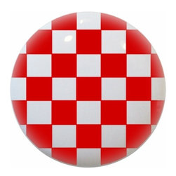 Carolina Hardware and Decor, LLC - Red Checkered Ceramic Cabinet Drawer Knob - New 1 1/2 inch ceramic cabinet, drawer, or furniture knob with mounting hardware included. Also works great in a bathroom or on bi-fold closet doors (may require longer screws).  Item can be wiped clean with a soft damp cloth.  Great addition and nice finishing touch to any room.