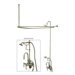 "Kingston Brass - Clawfoot Tub Package with High Rise Goose Neck - This clawfoot tub package includes faucet with high rise goose neck, hand shower and cradle, shower riser and shower head, curtain rod, chain plug drain and overflow, and supply lines all constructed of high quality brass to ensure reliability and durability. The premier finish resists tarnishing and corrosion. All mounting hardware is included and standard US plumbing connections are used.; 62"" shower riser; 57"" x 31"" curtain rod; 3-3/8"" spread faucet with high rise goose neck; 22"" supply lines; Chain plug drain and overflow; Material: Brass; Finish: Satin Nickel Finish; Collection: Vintage"