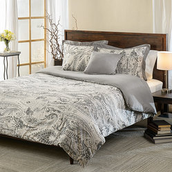 None - Comosetti Griffen Grey Paisley Reversible Cotton 5-piece Comforter Set - This 5-piece cotton reversible comforter set is designed with a paisley pattern that will have your bedroom decorated in luxurious style. This simple design will give any room style and fashion.