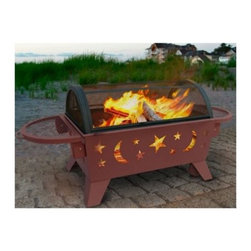 Landmann Northern Lights XT Stars & Moons Fire Pit - Georgia Clay - The dual-purpose Landmann USA Northern Lights XT Stars & Moons Fire Pit - Georgia Clay is a portable grill with wheels as well as a decorative fire pit that'll liven up your exterior décor. Its unique and stylish star and moon cutouts will cast a brilliant display on your next outdoor gathering and it'll produce enough heat to warm all of your guests as you share stories and chow down on your favorite grilled foods. The Landmann USA Norther Lights XT Stars & Moons Fire Pit is constructed of sturdy steel finished in Georgia Clay and designed for easy assembly. Measures 52.5L x 25.25W x 22.75H inches.