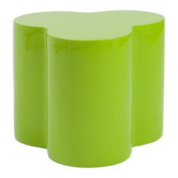 Euro Style - 15.5 in. Stool in High Gloss Green - Unique design. Durable and easy to clean. Top thickness 2 cm.. Can be used as table. Warranty: One year. Made from fiberglass. No assembly required. 18 in. W x 19.75 in. D x 15.5 in. H
