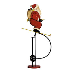 Authentic Models - Skiing Santa Sky Hook - Made of Tin and Iron. Red, White, Black, and Yellow color. 9.1 in. W x 4.3 in. D x 20.5 in. HOur two Holiday characters seem to be a collaborating duo on the ski slopes. Our artist was inspired by vintage images of both gentlemen. The images were researched in turn of the century children's books and magazines. It seems like the Santa is the better skier, which is not surprising since Snowmen lead a habitually sedentary life and most of them foster a fear of descending to warmer temperatures.