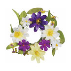 """Oddity - Oddity 2"""" Zinnia and Daisy Candle Ring Pack 4 - Purple and lime zinnias paired with white daisy's create a timelessly beautiful floral creation. The subtle hues make this collection perfect for spring decorating!"""
